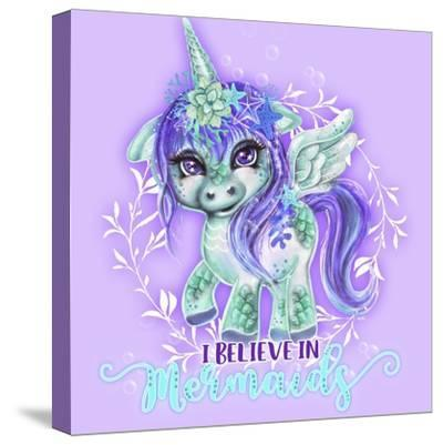 I Believe in Mermaids CutieCorn-Sheena Pike Art And Illustration-Stretched Canvas Print