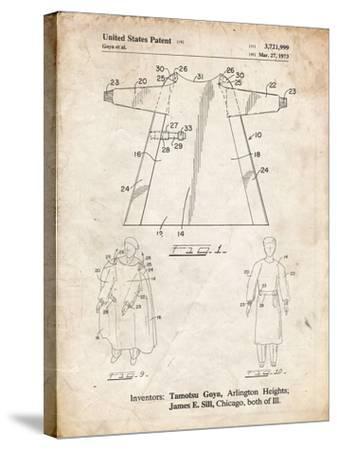 PP1074-Vintage Parchment Surgical Gown Patent Print-Cole Borders-Stretched Canvas Print