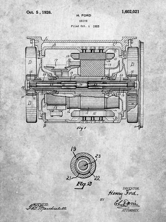 PP1110-Slate Train Transmission Patent Poster-Cole Borders-Stretched Canvas Print