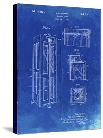 PP1088-Faded Blueprint Telephone Booth Patent Poster-Cole Borders-Stretched Canvas Print