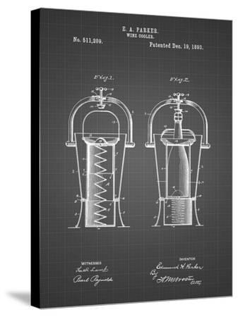 PP1138-Black Grid Wine Cooler 1893 Patent Poster-Cole Borders-Stretched Canvas Print