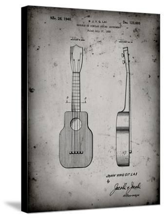PP1117-Faded Grey Ukulele Patent Poster-Cole Borders-Stretched Canvas Print