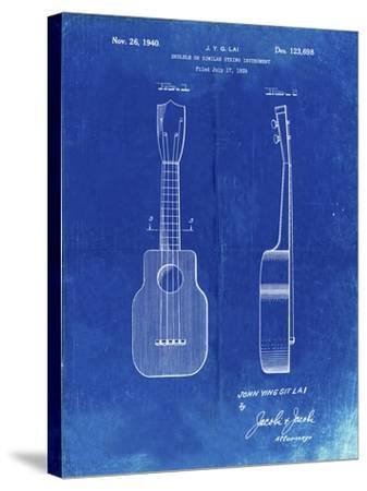 PP1117-Faded Blueprint Ukulele Patent Poster-Cole Borders-Stretched Canvas Print