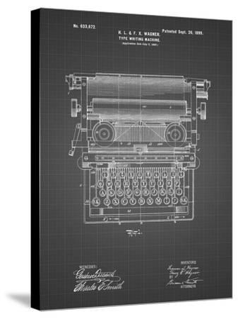 PP1118-Black Grid Underwood Typewriter Patent Poster-Cole Borders-Stretched Canvas Print
