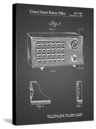 PP1126-Black Grid Vintage Table Radio Patent Poster-Cole Borders-Stretched Canvas Print