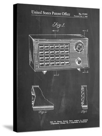 PP1126-Chalkboard Vintage Table Radio Patent Poster-Cole Borders-Stretched Canvas Print
