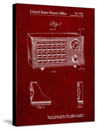 PP1126-Burgundy Vintage Table Radio Patent Poster-Cole Borders-Stretched Canvas Print