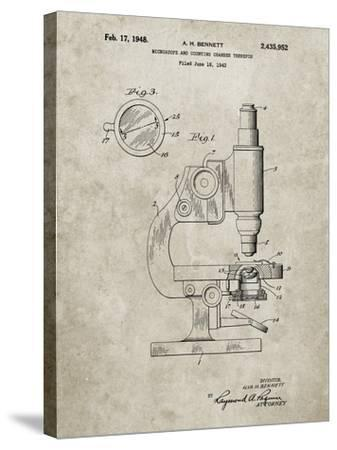 PP64-Sandstone Antique Microscope Patent Poster-Cole Borders-Stretched Canvas Print