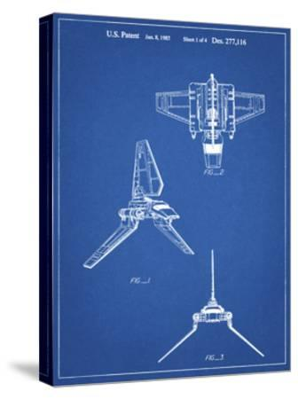 PP100-Blueprint Star Wars Lambda Class T-4a Imperial Shuttle Patent Poster-Cole Borders-Stretched Canvas Print