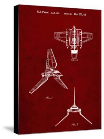 PP100-Burgundy Star Wars Lambda Class T-4a Imperial Shuttle Patent Poster-Cole Borders-Stretched Canvas Print