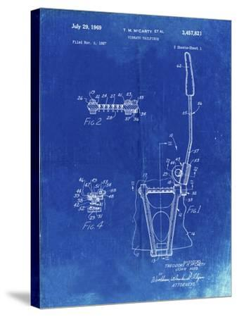 PP1122-Faded Blueprint Vibrato Tailpiece Patent Wall Art Poster-Cole Borders-Stretched Canvas Print