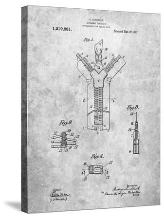 PP1143-Slate Zipper 1917 Patent Poster-Cole Borders-Stretched Canvas Print
