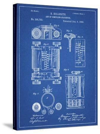 PP110-Blueprint Hollerith Machine Patent Poster-Cole Borders-Stretched Canvas Print