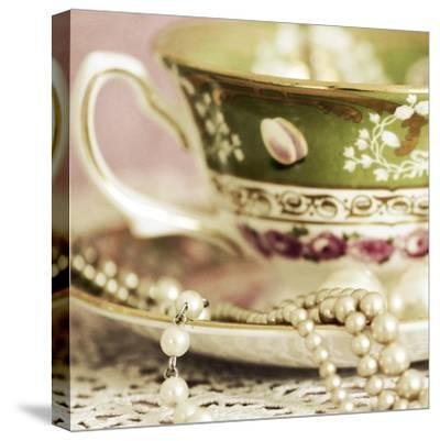 Antique Cups and Saucers with Pearls 02-Tom Quartermaine-Stretched Canvas Print