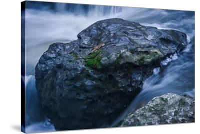 Massive Moss Covered Rock Under Waterfalls-Anthony Paladino-Stretched Canvas Print