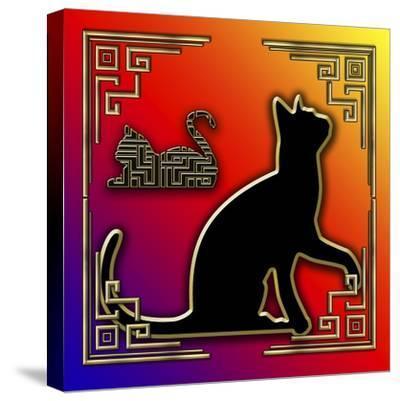 Deco Cats 3 Frame 2-Art Deco Designs-Stretched Canvas Print