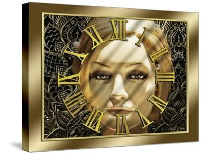 Luna Art Deco Clock-Art Deco Designs-Stretched Canvas Print