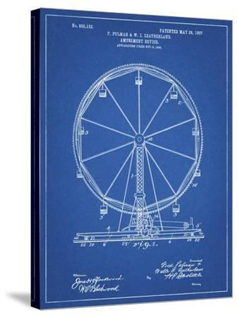 PP167- Blueprint Ferris Wheel Poster-Cole Borders-Stretched Canvas Print