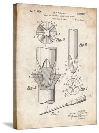 PP153- Vintage Parchment Phillips Head Screw Driver Patent Poster-Cole Borders-Stretched Canvas Print