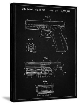 PP154- Vintage Black Handgun Pistol Patent Poster-Cole Borders-Stretched Canvas Print