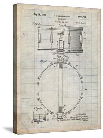 PP147- Antique Grid Parchment Slingerland Snare Drum Patent Poster-Cole Borders-Stretched Canvas Print