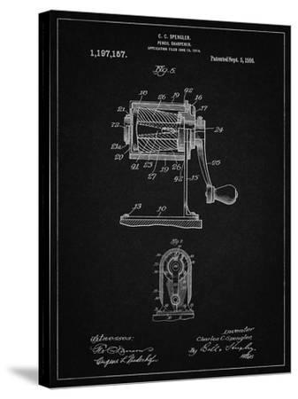 PP162- Vintage Black Pencil Sharpener Patent Poster-Cole Borders-Stretched Canvas Print