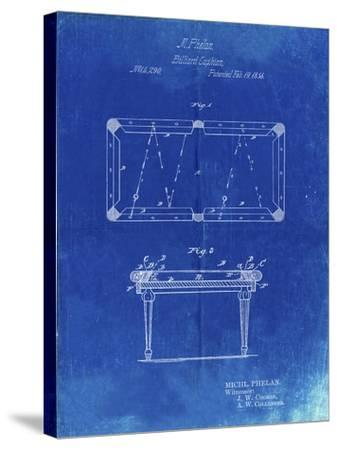 PP149- Faded Blueprint Pool Table Patent Poster-Cole Borders-Stretched Canvas Print