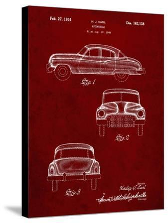 PP134- Burgundy Buick Super 1949 Car Patent Poster-Cole Borders-Stretched Canvas Print