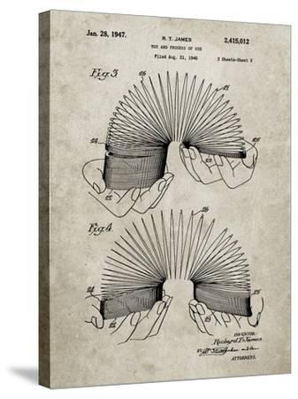 PP125- Sandstone Slinky Toy Patent Poster-Cole Borders-Stretched Canvas Print