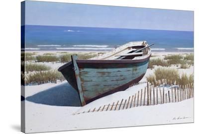 Blue Boat on Beach-Zhen-Huan Lu-Stretched Canvas Print