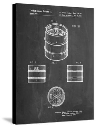 PP193- Chalkboard Miller Beer Keg Patent Poster-Cole Borders-Stretched Canvas Print