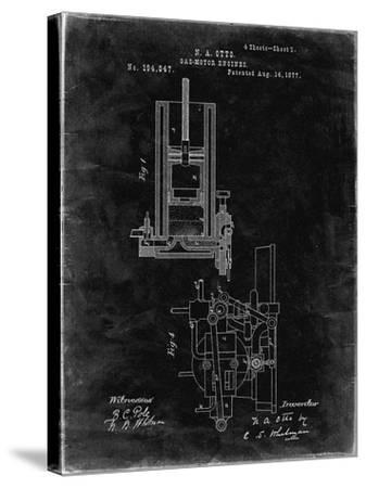 PP304-Black Grunge Combustible 4 Cycle Engine Otto 1877 Patent Poster-Cole Borders-Stretched Canvas Print