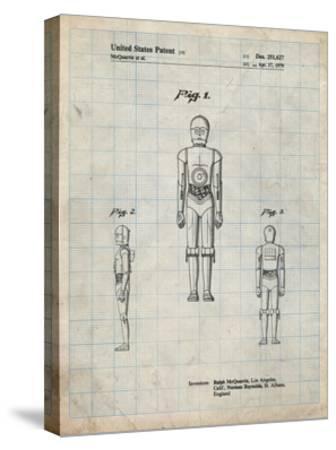 PP195- Antique Grid Parchment Star Wars C-3PO Patent Poster-Cole Borders-Stretched Canvas Print