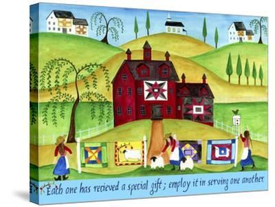 Red Barn Quilt House-Cheryl Bartley-Stretched Canvas Print