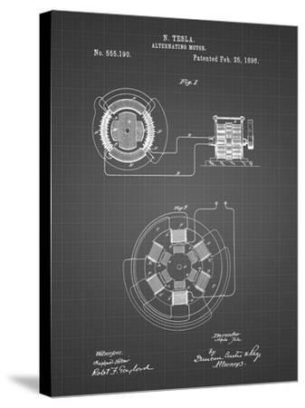 PP505-Black Grid Tesla Alternating Motor Patent Poster-Cole Borders-Stretched Canvas Print