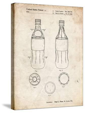 PP432-Vintage Parchment Coke Bottle Display Cooler Patent Poster-Cole Borders-Stretched Canvas Print