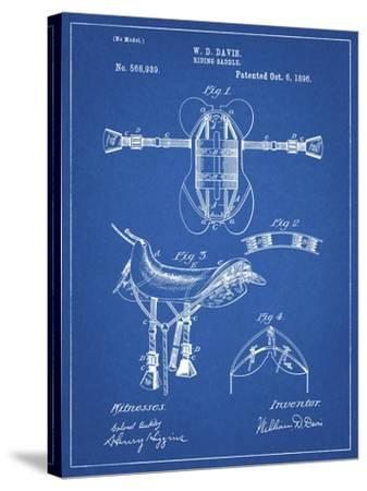 PP444-Blueprint Horse Saddle Patent Poster-Cole Borders-Stretched Canvas Print
