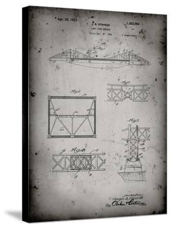 PP350-Faded Grey Golden Gate Bridge Patent Poster-Cole Borders-Stretched Canvas Print