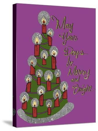Christmas Candle Tree-Cyndi Lou-Stretched Canvas Print