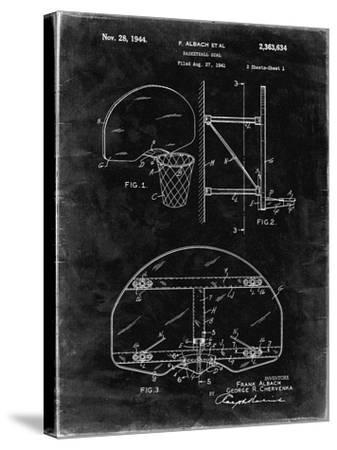 PP381-Black Grunge Basketball Goal Patent Print-Cole Borders-Stretched Canvas Print