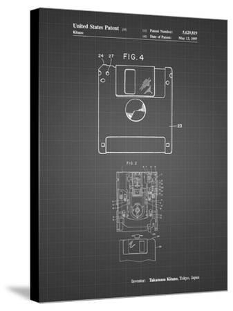PP87-Black Grid 3 1/2 Inch Floppy Disk Patent Poster-Cole Borders-Stretched Canvas Print