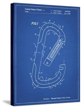 PP83-Blueprint Oval Carabiner Patent Poster-Cole Borders-Stretched Canvas Print