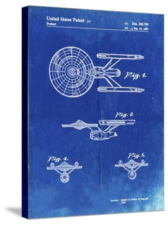 PP56-Faded Blueprint Starship Enterprise Patent Poster-Cole Borders-Stretched Canvas Print
