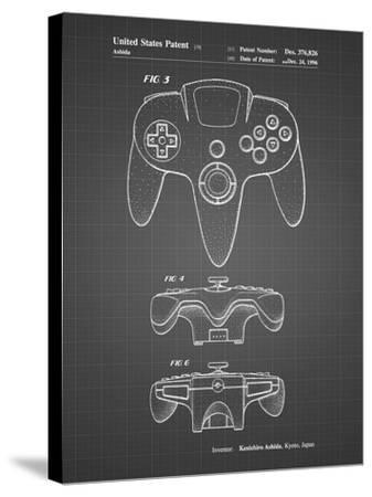 PP86-Black Grid Nintendo 64 Controller Patent Poster-Cole Borders-Stretched Canvas Print