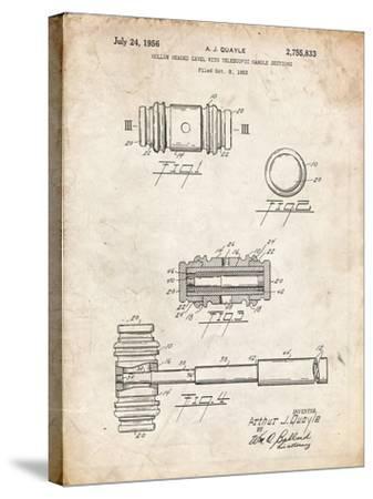 PP85-Vintage Parchment Gavel 1953 Patent Poster-Cole Borders-Stretched Canvas Print