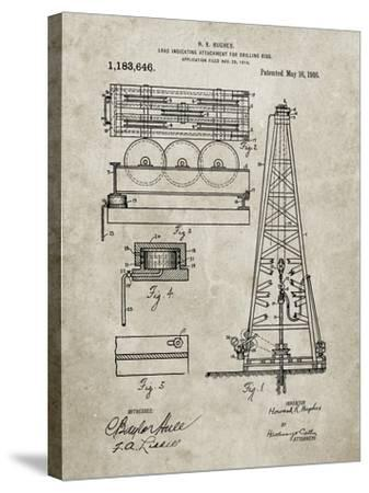 PP66-Sandstone Howard Hughes Oil Drilling Rig Patent Poster-Cole Borders-Stretched Canvas Print