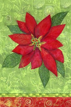 Poinsettia Collage Flag-Elizabeth Claire-Stretched Canvas Print