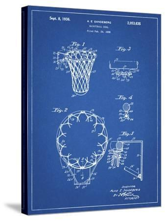 PP323-Blueprint Golden Gate Bridge Main Tower Patent Poster-Cole Borders-Stretched Canvas Print