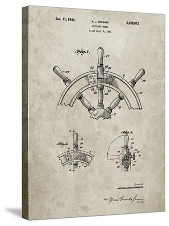 PP228-Sandstone Ship Steering Wheel Patent Poster-Cole Borders-Stretched Canvas Print