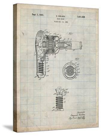 PP265-Antique Grid Parchment Vintage Hair Dryer Patent Poster-Cole Borders-Stretched Canvas Print